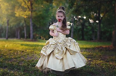 Belle Dress Disney Inspired Costume Beauty And The Beast Girls Kids Child 2t