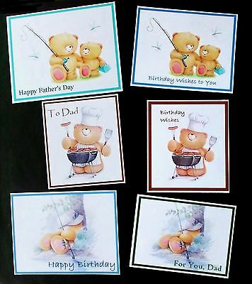 DAD FATHER'S DAY MALE BIRTHDAY THEMED CARD TOPPERS x 6 PIECES