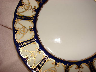 "Royal Doulton Dinner Plates 10 1/4"" Across C1921 Gold Encrusted & Cobalt Vintage"