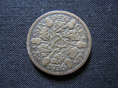 King George V - Old 1936 Sixpence Coin. 500 SILVER