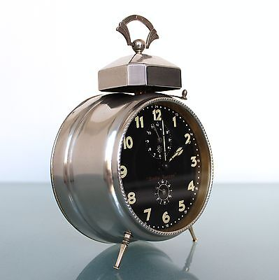 JUNGHANS ANTIQUE Alarm/Mantel Clock BAUHAUS! SQUARE BELL 1920s German Black Dial