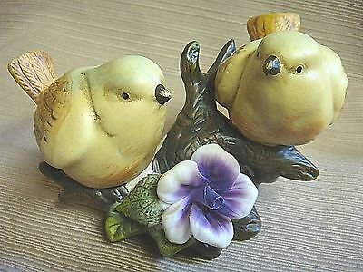 PRETTY PORCELAIN YELLOW BIRDS / GOLD FINCHES on BRANCH w/PURPLE FLOWER