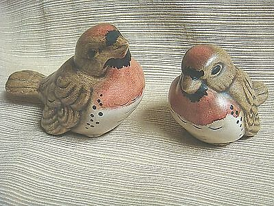 2 Adorable & Unique ROBIN BABY BIRD Hand Painted Plaster Ware Figures