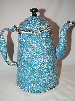 Vintage Blue Swirl Sponge Granite Ware Coffee Pot  9 Inch