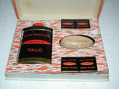 Vintage 40S Max Factor Primitif Bath Set Talc Soap Bath Cubes