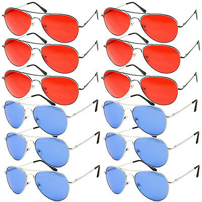 WHOLESALE Lot of 12 Aviator Style COLORED Lens Metal SUNGLASSES RED or BLUE