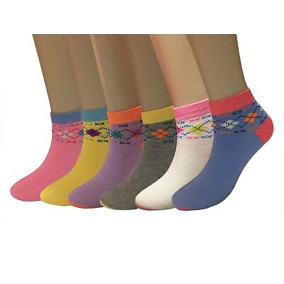 Fashion 6-12 Pack Women's Low Cut Ankle Socks Assorted Colors Size 9-11 New