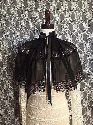 Victorian Black Organza & Lace Cape Vintage Fabric Historically Inspired