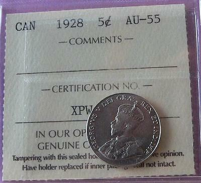 Canada 1928 Five cents - ICCS AU-55 - A Very Nice Coin - A089