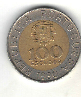 Portugal 1990 Bi-Metallic 100 Escudos Coin
