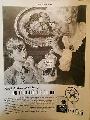 1940 texaco oil havoline can grandma child molasses elixir fruit broach ad
