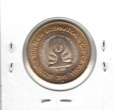India 2015 Bi-Metallic 10 Rupee Coin Yoga