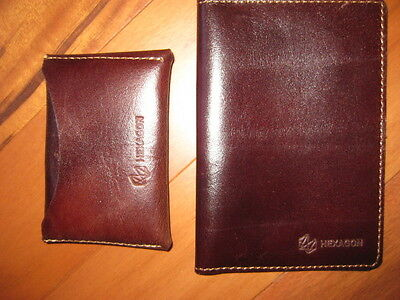 Hexzgon Cowhide Leather Passport and Separate Credit Card Holder