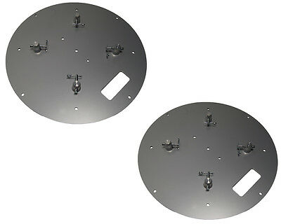 Pair of 24 X 24 Round Silver Steel Base Plate Fits Global Truss F33 F34 F44 SQ
