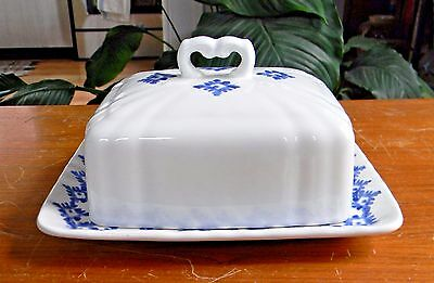 RALPH LAUREN China FLYNN Rectangula Covered BUTTER DISH Blue White Discontinued