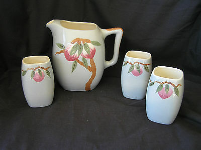 """Weil Ware """"Mango"""" Pitcher & 3 Tumblers, Vintage, Calif Pottery"""