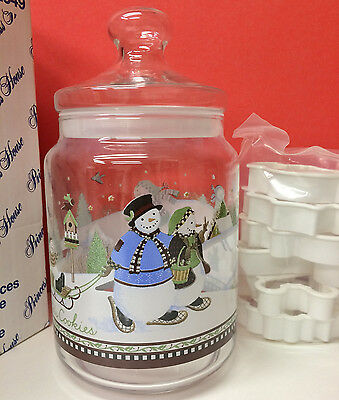 PRINCESS HOUSE SNOWMAN COOKIE JAR & COOKIE CUTTERS NEW w/box FRANCE