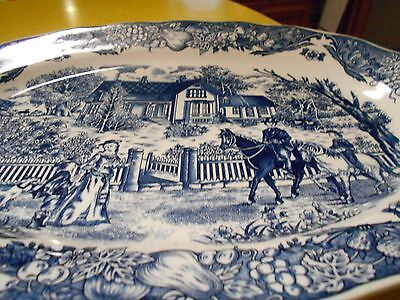 "Porcelain Blue Transferware Platter 13 1/2 by 18"" English Countryside Pattern"