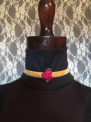 Victorian Style Replica Old Gold Color Choker Lolita Red Flower