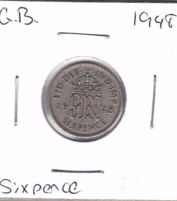 Great Britain 1948 Sixpence Coin