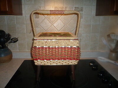 Vintage WICKER STANDING SEWING BASKET BOX Floral Design
