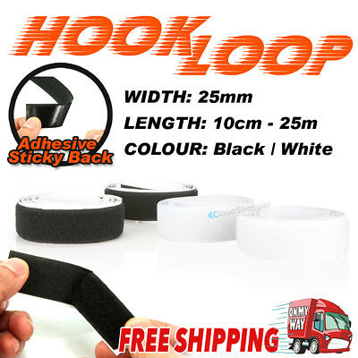 25mm Heavy Duty Self Adhesive Sticky Back Hook And Loop Fastening Tape Black Whi