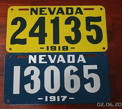 REPRODUCTION....1917 or 1918 Nevada License Plate, Your Choice,  must READ DESC.