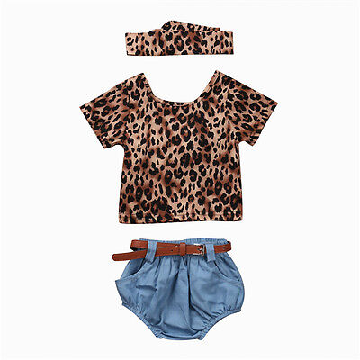 Adorable Newborn Baby Girls Kids Leopard T-shirt Tops+ Pants Outfits Clothes Set