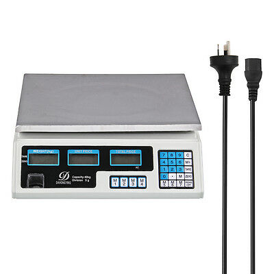 1pc 40Kg Digital Scale Electronic Price Computing Weight Shop Market AU Adapter