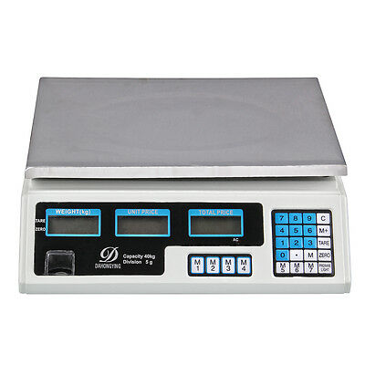 Accurate 40Kg Digital Scale Electronic Price Computing Weight Market AU Adapter