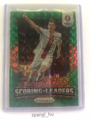 Panini Euro Prizm 2016 Robert Lewandowski green 5/5 Scoring Leaders Poland rare!