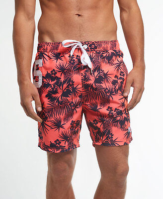 New Mens Superdry Premium Print Water Polo Short Coral Palm