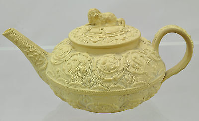 Antique Wedgwood Caneware Small Teapot King Charles Spaniel Finial 19th Century