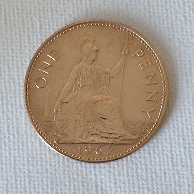 1967 Elizabeth II gold plated One Penny Coin. 50th Birthday/Anniversary gift