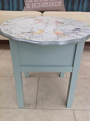 Vintage, painted duck egg blue sewing box/ side table by Morso with bird motif