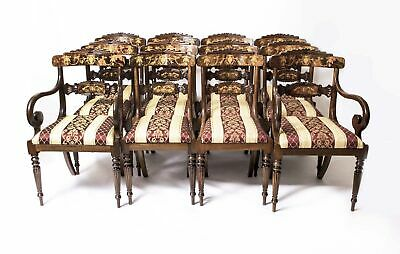 Set 14 Bespoke Handmade Regency Style Burr Walnut Marquetry Dining Chairs