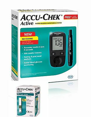 Accu-Chek Active Blood Glucose Monitoring System With Free 10 and 50 Test Strips