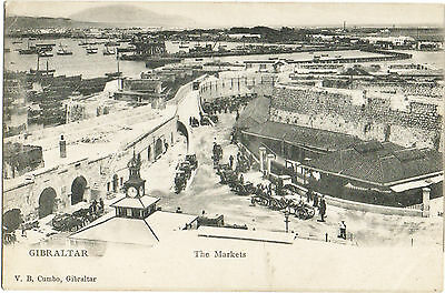 The Markets,Gibraltar with horse drawn carts & carriages 1908 (V.B. Cumbo)