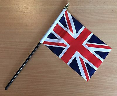 "UNION JACK GREAT BRITAIN UK HAND WAVING FLAG small 6"" x 4"" with 10"" pole"