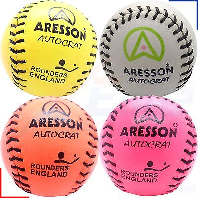 Aresson Autocrat Leather Stitched Rounders Ball - Orange, Pink or Yellow