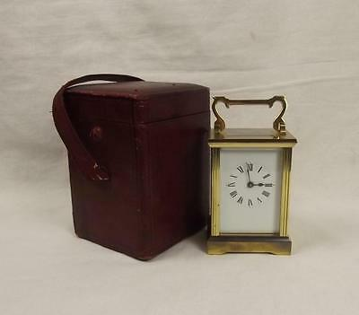 Circa 1900 Brass Carriage Clock With Travel Case