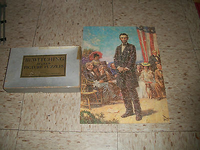 Antique Bewitching Wood Jigsaw Puzzle Gettysburg Address Lincoln Fred L Gibbs Ma