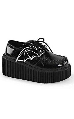 4ee60a07f6b Demonia Goth Gothic Creeper-205 Black Glitter Bat Creeper Platform Shoe  Vegan