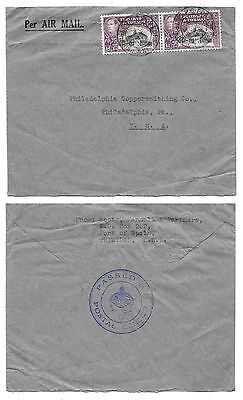 """1939 WWII Trinidad Tobago """"Crown"""" Censored Cover TR CH 4B Port of Spain to US"""