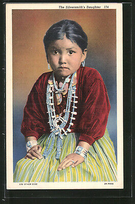 alte AK The Silversmith´s Daughter, Indianermädchen 1940