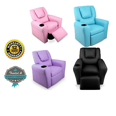Luxury KIDS RECLINER Children Lounge CHAIR Padded PU Leather Sofa Drink Holder