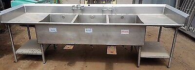 3 Compartment SINK Bakery Restaurant commercial NSF 10ft Long