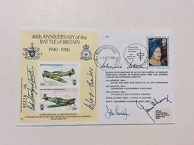 Signed First Day Cover 40th Battle Of Britain Bader Tuck Johnson Biggin Hill