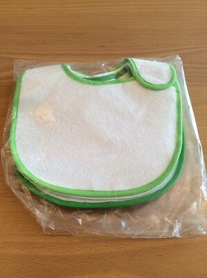 baby boys clothes 0-3 months 2 Pack White Green Edged Bibs Waterproof Back