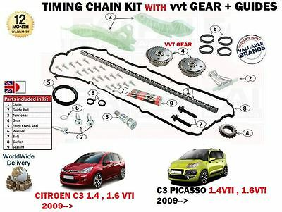 For Citroen C3 + Picasso 1.4 1.6 Vti 2009-> Timing Chain Kit With Vvt Gears